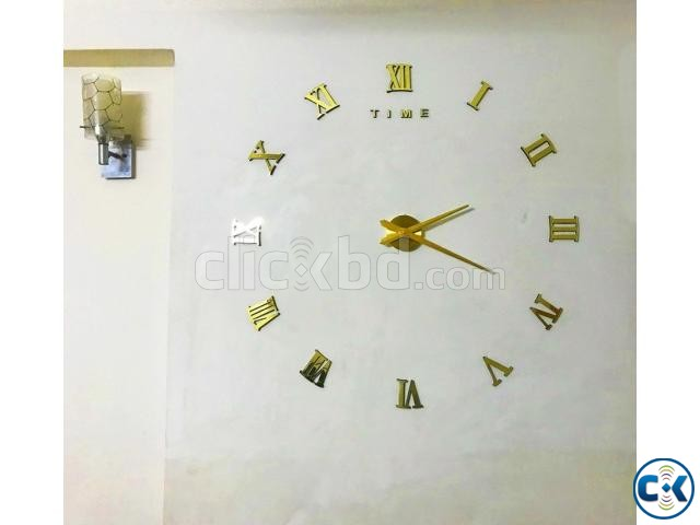 Very Gorgeous GOLDEN Mirror Fasion Big Wall clock | ClickBD large image 2