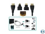 3 in 1 HDMI Cable with Micro Mini HDMI Adapters