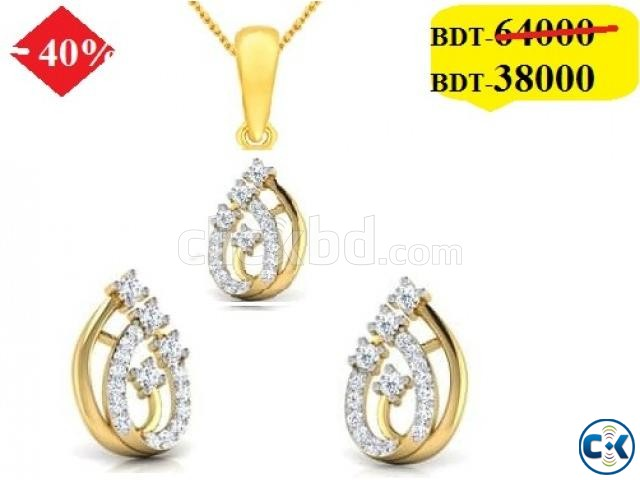 Diamond with Gold Pendant set 40 off   ClickBD large image 0