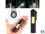 XPE COB LED Flashlight Metal Pocket Clip torch Rechargeable