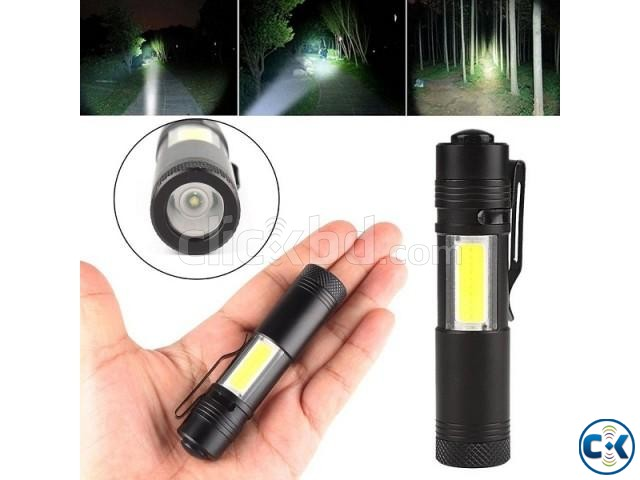 XPE COB LED Flashlight Metal Pocket Clip torch Rechargeable   ClickBD large image 0