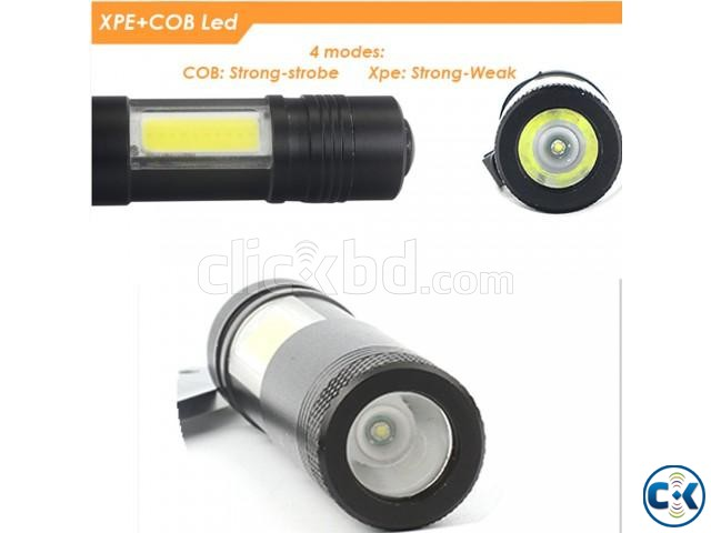 XPE COB LED Flashlight Metal Pocket Clip torch Rechargeable | ClickBD large image 4