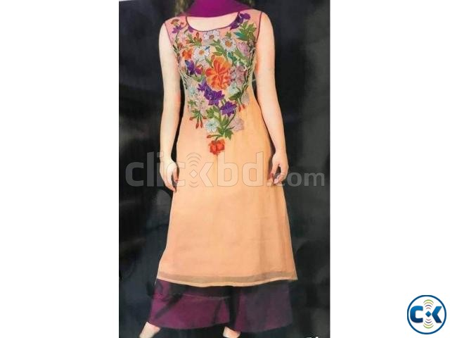 Embroidery soft georgette dress for woman nokshi 036 | ClickBD large image 0