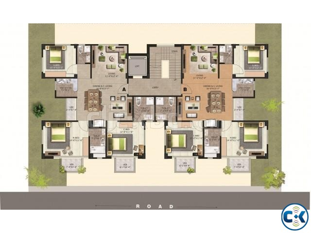 1350 Sft 3 Bed Flat For Sell Aftabnagar | ClickBD large image 2