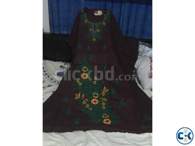 Unstitched Cotton Embroidery one Piece | ClickBD large image 0