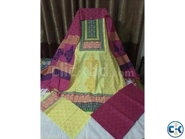 Unstitched Cotton Block Three Piece | ClickBD large image 0