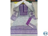 Unstitched Cotton Block Three Piece