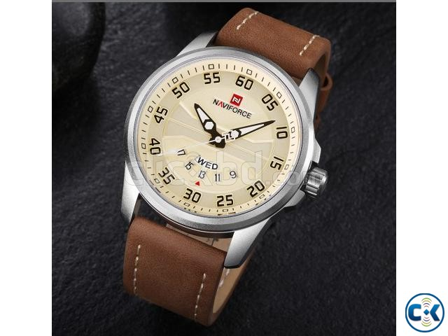 NAVIFORCE Man Leather Strap Watch D4 | ClickBD large image 0