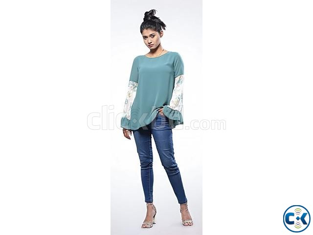 Teal Double Georgette Long Sleeve Tops- 528935. | ClickBD large image 1