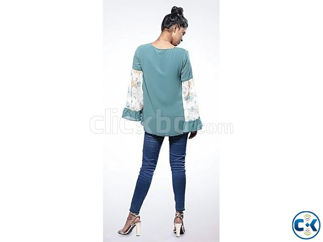 Teal Double Georgette Long Sleeve Tops- 528935. | ClickBD large image 2