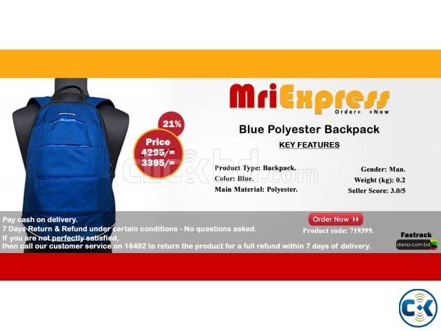 Blue Polyester Backpack- 719399.   ClickBD large image 0
