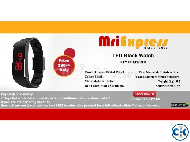 LED Black Watch- 195424. | ClickBD large image 0