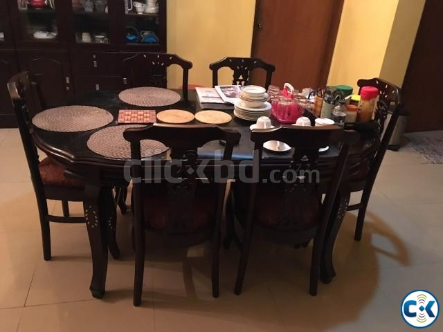6 seater wooden with glass top dinning table. | ClickBD large image 0