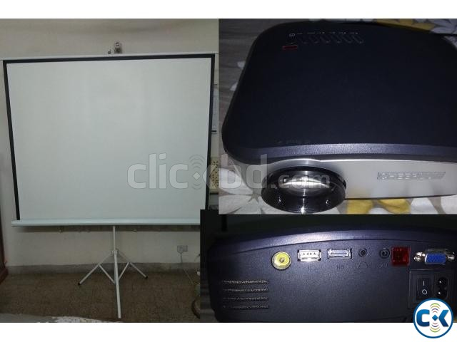 C6 Mini Led Projector Projection Screen Stand | ClickBD large image 3