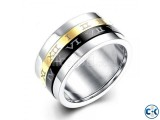 Black Gold Roman Numeral Stainless Steel Spinner Ring