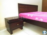 Oak Wood Double Bed With Side Table