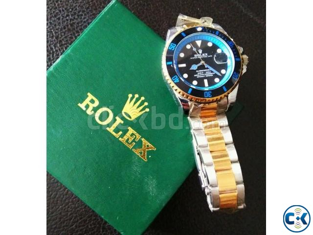 Rolex Submariner Gold Blue copy watch | ClickBD large image 1