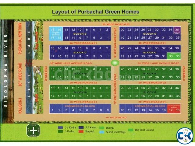 Land Plot Sale in near Rajuk Purbachal New Town | ClickBD large image 4
