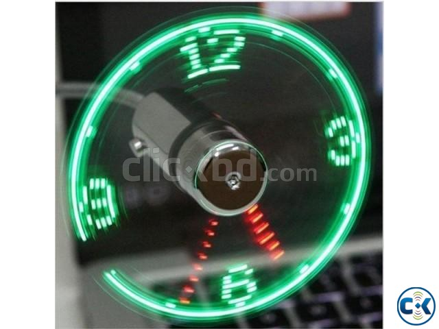 USB Led Fan Clock Adjustable Real Time Display | ClickBD large image 1