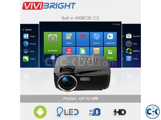 Vivibright GP70UP Android Mini Projector 3D HD TV Projector | ClickBD large image 0