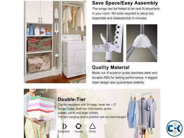 Collapsible Clothes Drying Rack Airer Portable | ClickBD large image 2