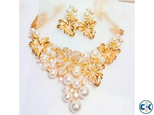indian gold plated pearl necklace | ClickBD large image 0