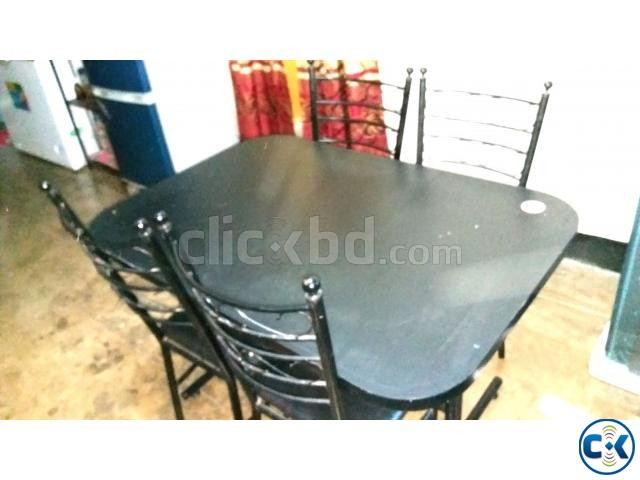 Otobi Original Brand Dining Table with 4 chair black. | ClickBD large image 0