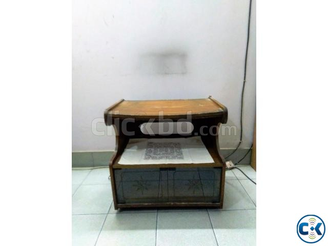 Wooden TV Stand Trolley. Nice looking with glass door cham | ClickBD large image 0
