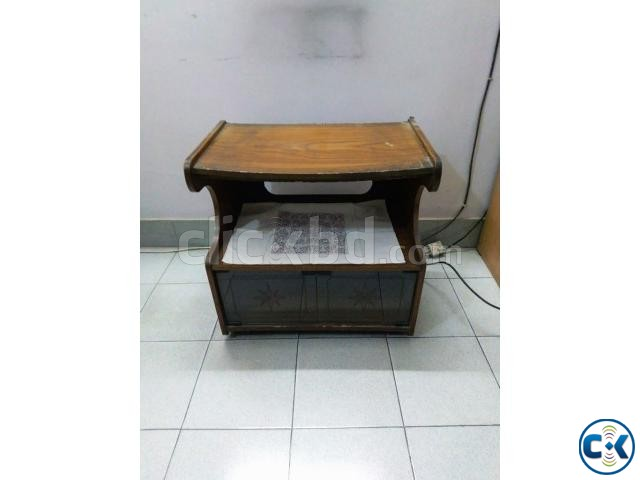 Wooden TV Stand Trolley. Nice looking with glass door cham | ClickBD large image 1