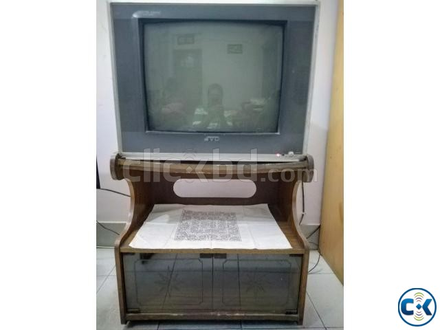 Wooden TV Stand Trolley. Nice looking with glass door cham | ClickBD large image 2
