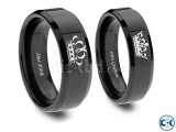 King and Queen Couple Ring Set In BlackTitanium