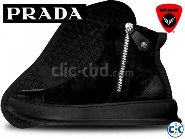 Prada High Top leather Sneaker 1 | ClickBD large image 0