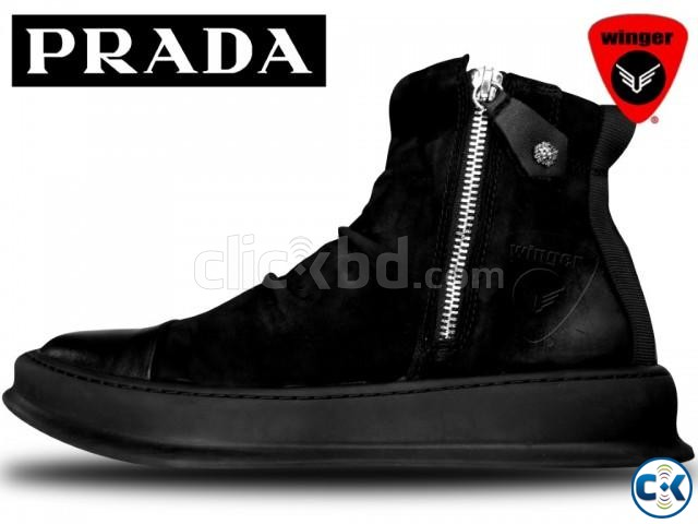 Prada High Top leather Sneaker 1 | ClickBD large image 1