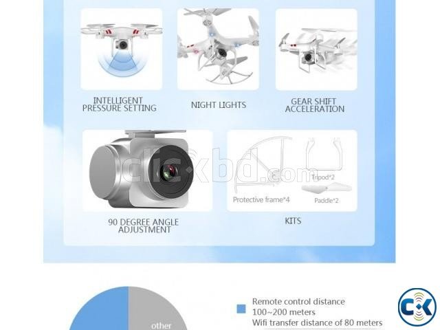 2.4G HD Camera FPV WIFI Drone Quadcopter | ClickBD large image 2