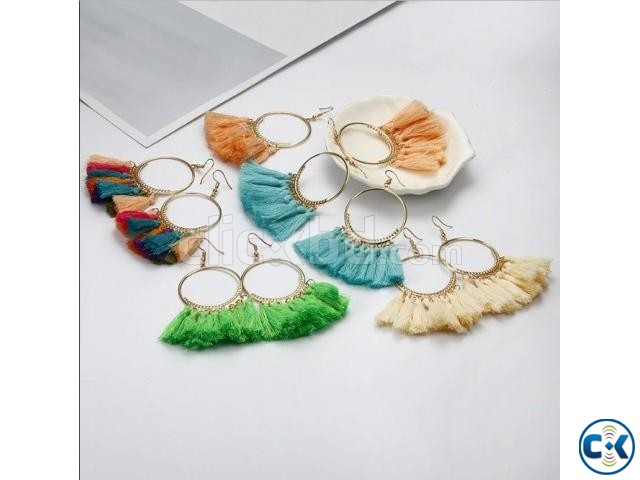 Big Circle Drop Tassel Earrings For Women | ClickBD large image 0