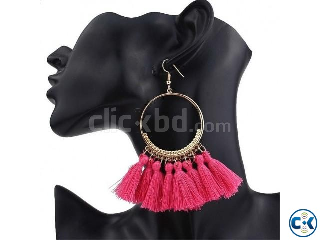 Big Circle Drop Tassel Earrings For Women | ClickBD large image 1