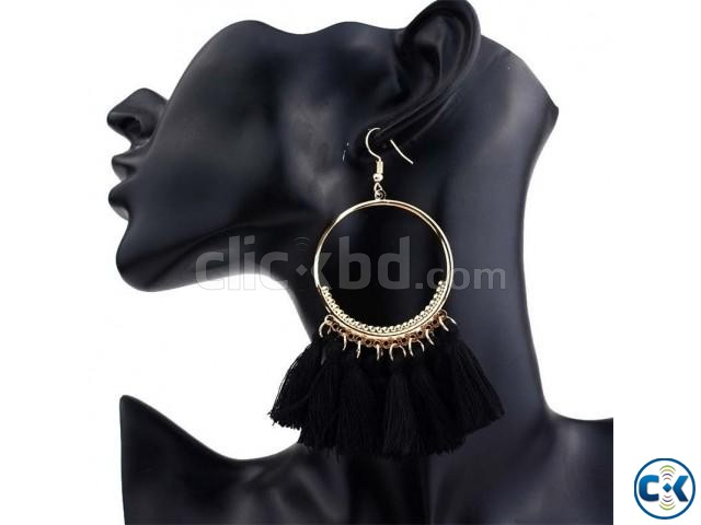 Big Circle Drop Tassel Earrings For Women | ClickBD large image 2