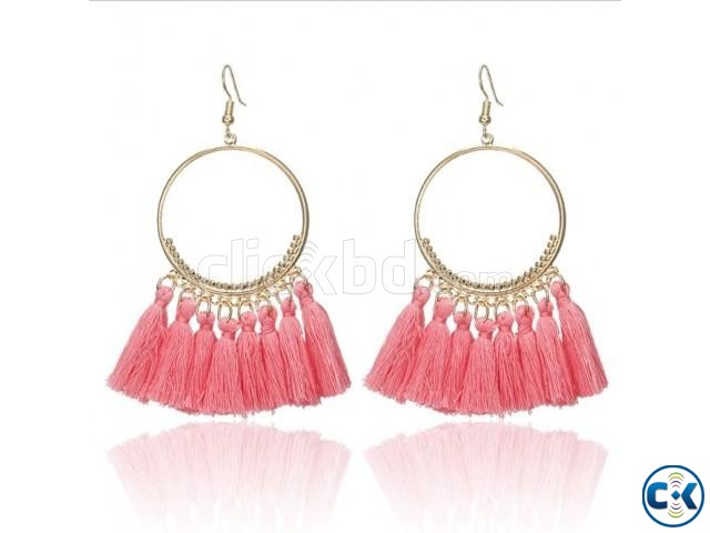 Big Circle Drop Tassel Earrings For Women | ClickBD large image 3