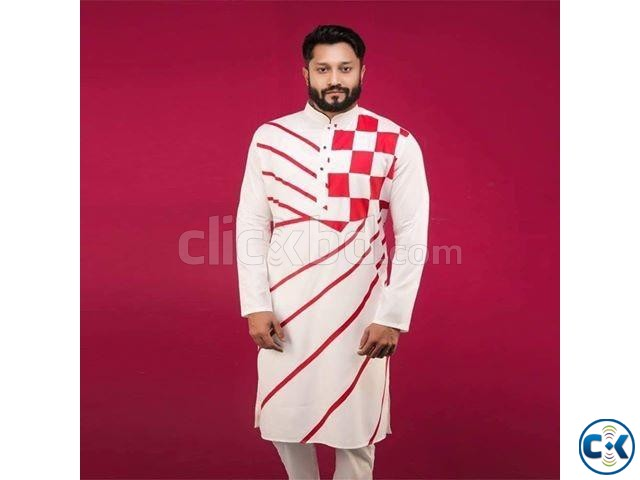 Off White with Red Box Design Cotton Panjabi 4 | ClickBD large image 0