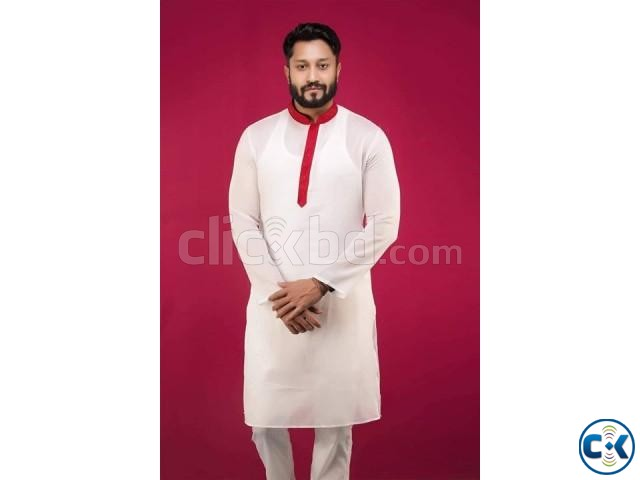 Off White with Red Collar Cotton Panjabi 10 | ClickBD large image 0