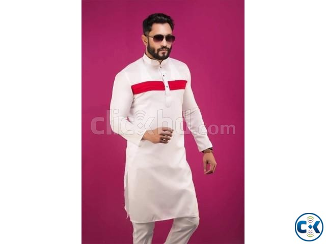 Off White with Red Stripe Design Cottn Panjabi 9 | ClickBD large image 0
