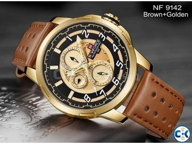 NAVIFORCE Watch Golden 9142 | ClickBD large image 0