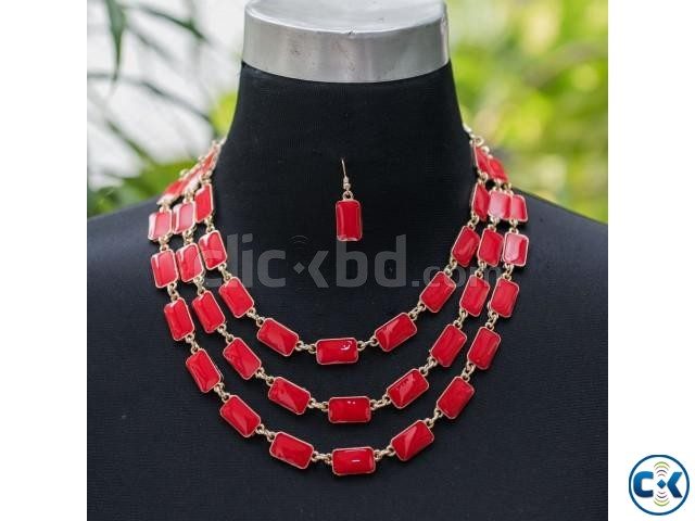 Product Beautiful Stone Multi Chain Necklace with Earring. | ClickBD large image 2