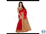 Mayshury Silk Saree 5 Red with Tan Brown Bird Design Paa