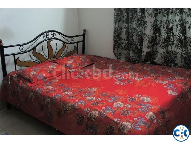 Steel bed with wooden design - semi double | ClickBD large image 0