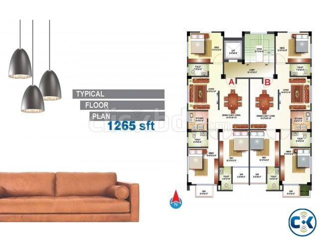 1265 2530 sft flat sale at Bashudhra R A | ClickBD large image 1