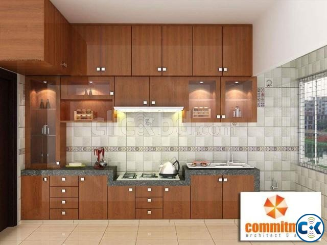 Kitchen Wall Cabinet False Ceiling TV wall 3D Modeling | ClickBD large image 0