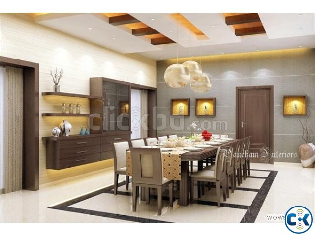 Kitchen Wall Cabinet False Ceiling TV wall 3D Modeling | ClickBD large image 1