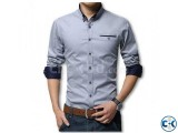 Gray Long Sleeve Casual Shirt for Men UPF
