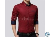 Maroon Long Sleeve Casual Shirt for Men 2